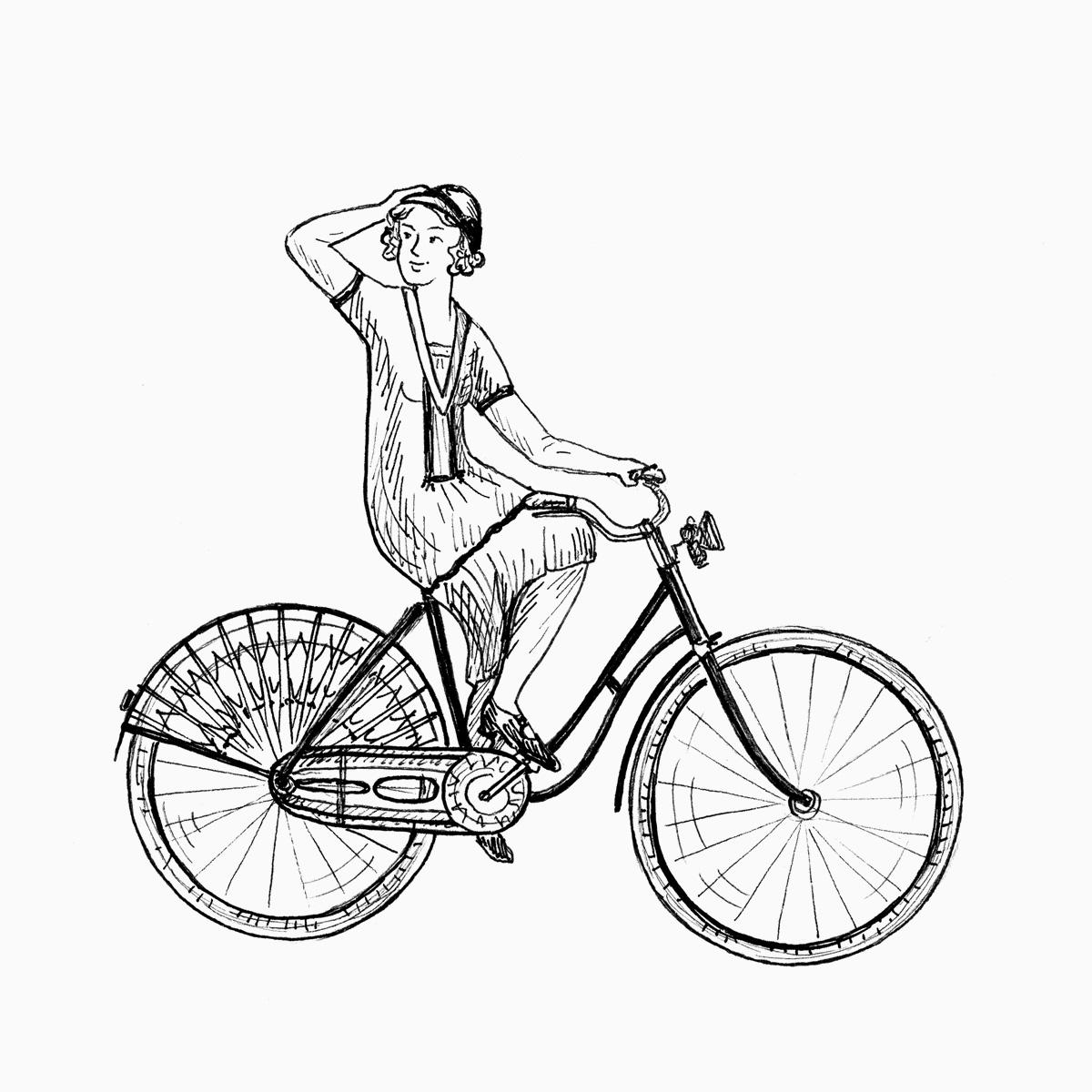 Frau auf Damen-Fahrrad (Zeichnung)