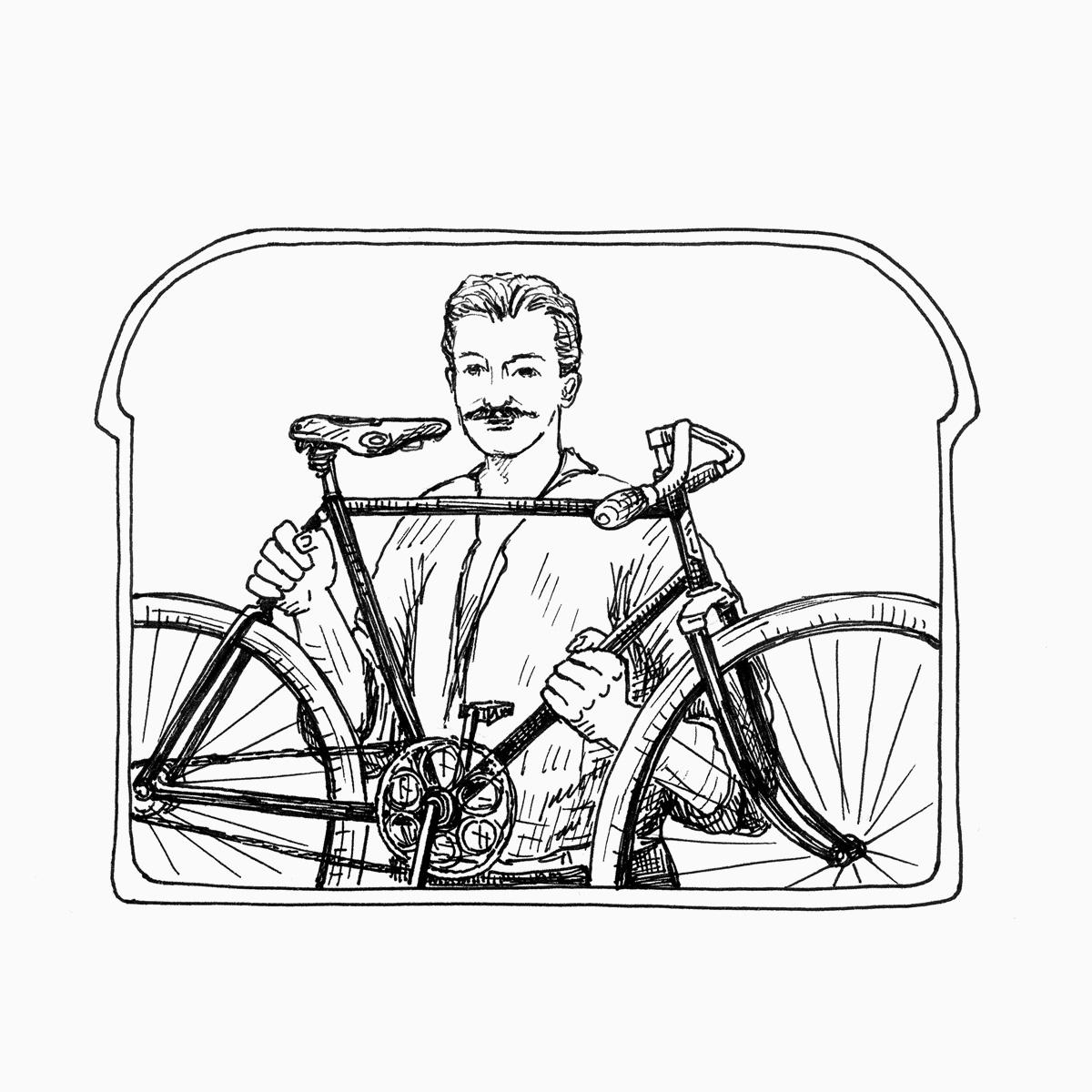 Fahrrad-Mechaniker bearbeitet einen Diamant-Rahmen