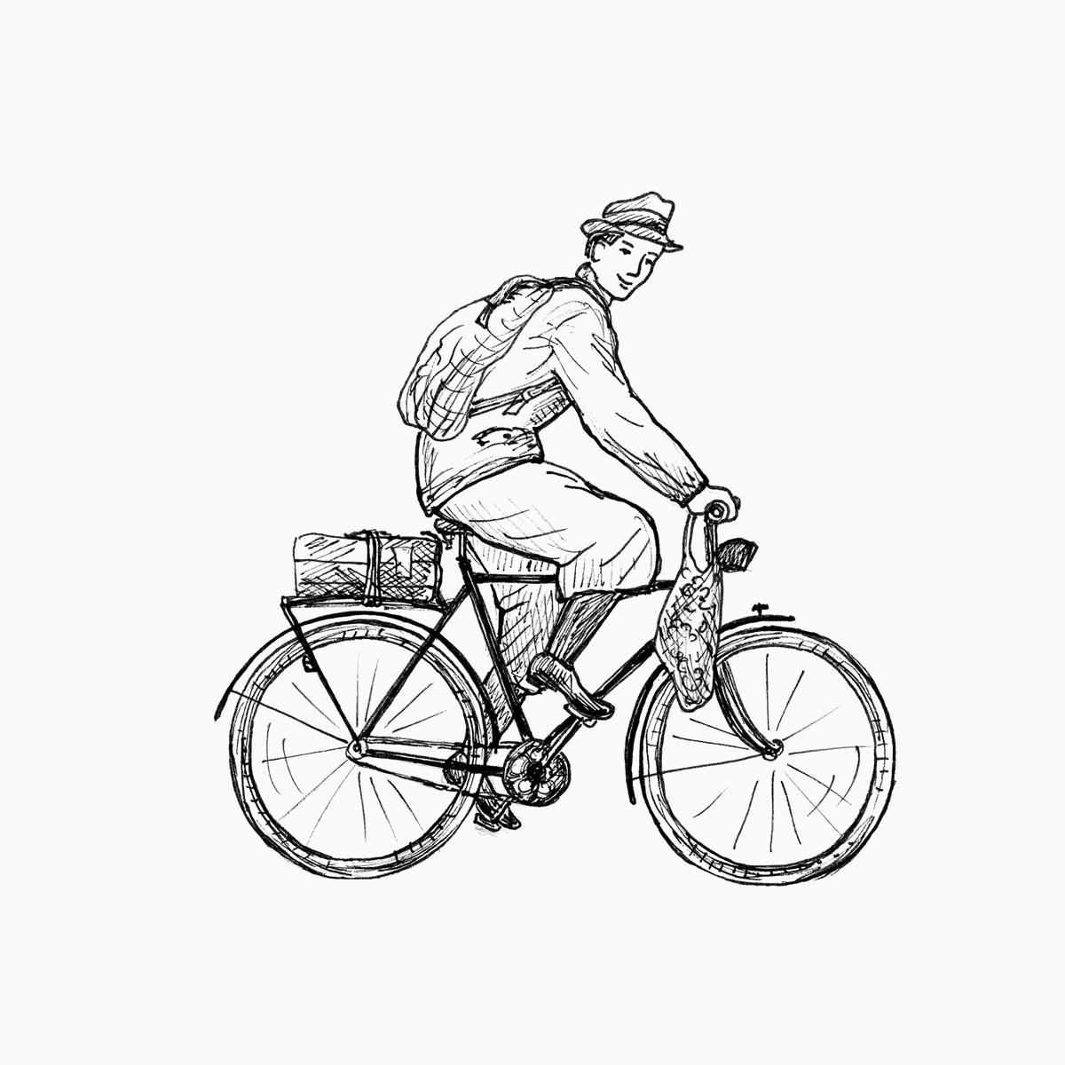 Mann mit Gepäck auf Herren-Fahrrad