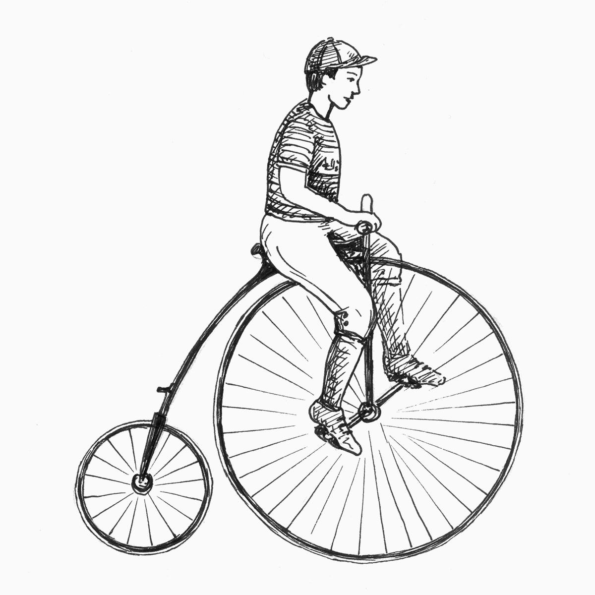 Männliches Kind fährt auf einem Hochrad (Zeichnung)