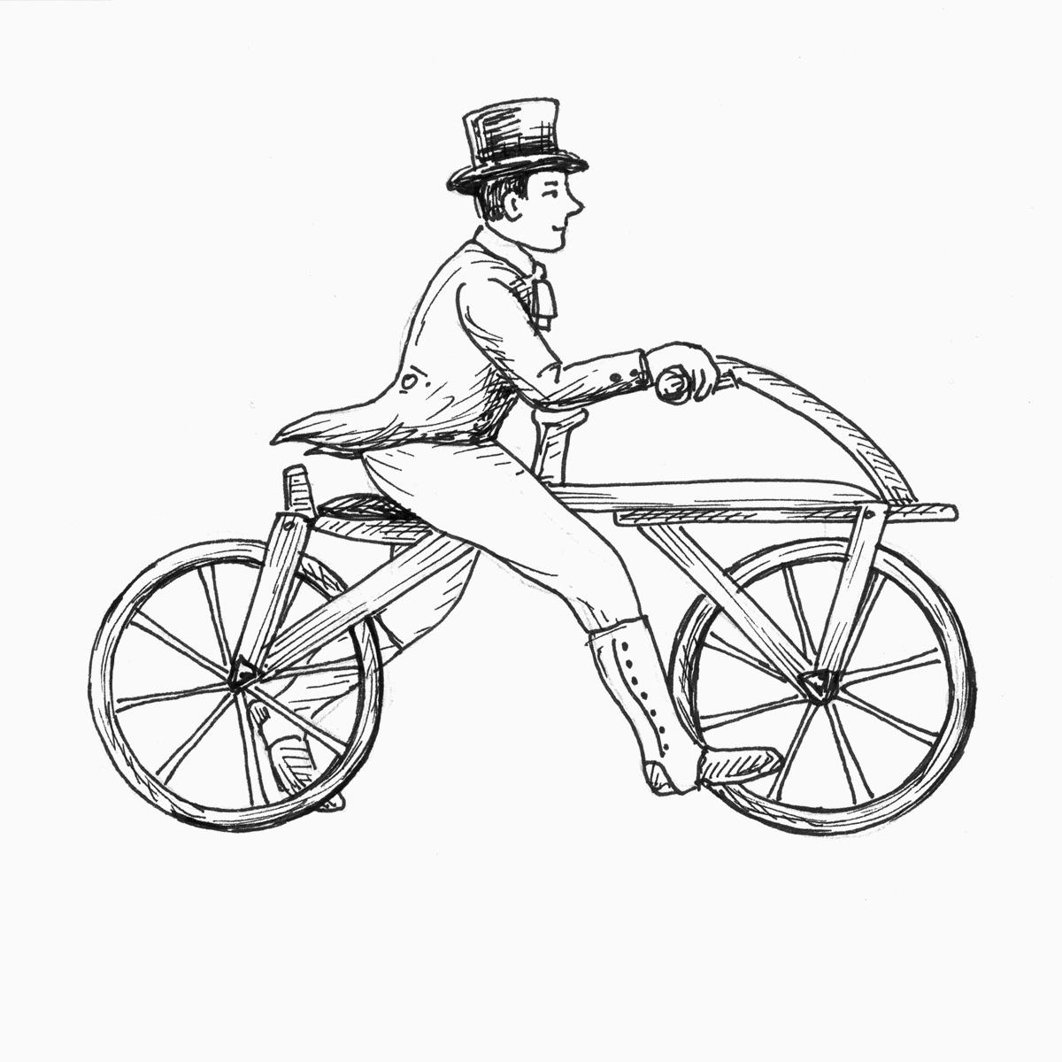 Erfinder Karl von Drais auf seiner Lauf-Maschine (Zeichnung)