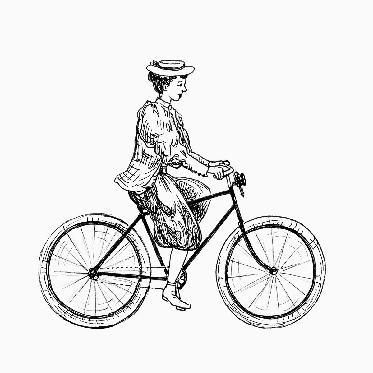 Frau fährt ein Fahrrad mit Luftreifen (Zeichnung)