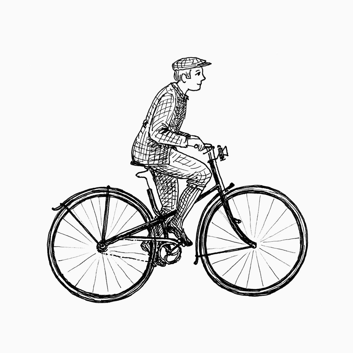 Mann fährt auf einem Niederrad (Zeichnung)