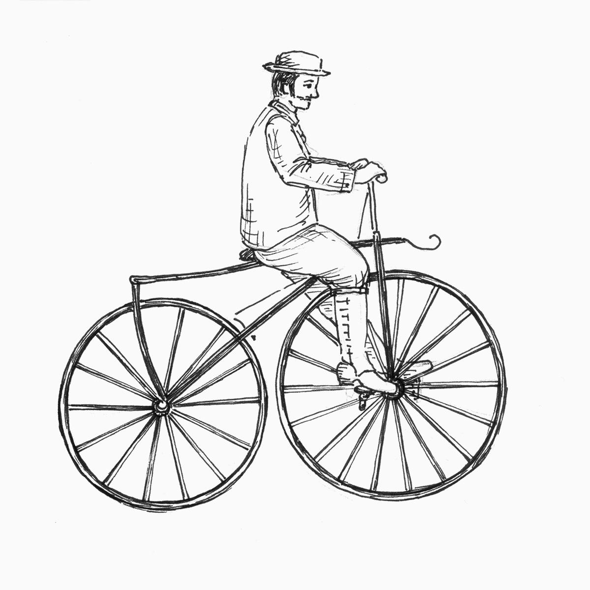 Mann fährt ein Tretkurbel-Velociped (Zeichnung)